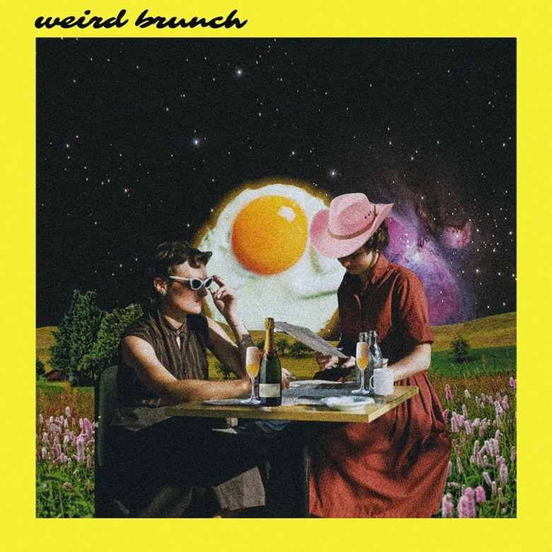 Two people eating with an egg and space behind them